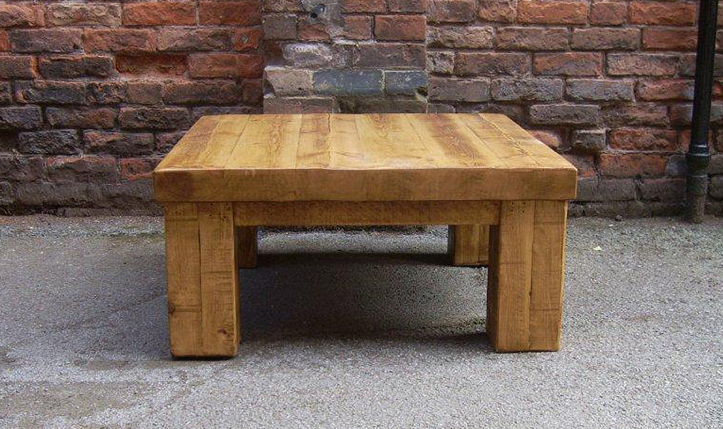 Rustic plank coffee table for Wood plank top coffee table
