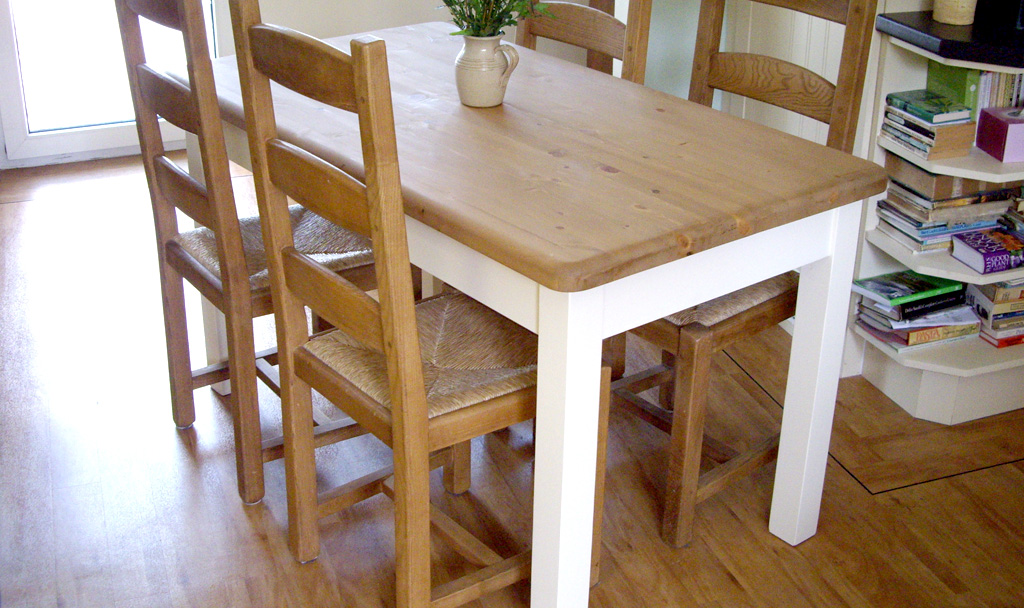 Shaker Painted Base Dining Table Made To Measure In The Uk