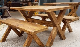 Reclaimed X Base Dining Table & Bench set