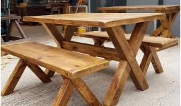 Reclaimed X Base Dining Table