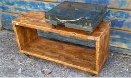 Reclaimed Hairpin Scaffold Record/TV Unit