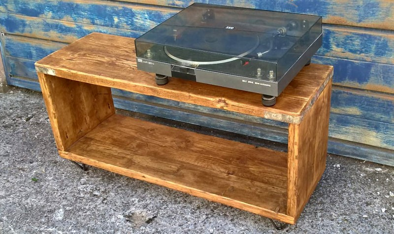 Reclaimed Hairpin Scaffold Record / TV Unit