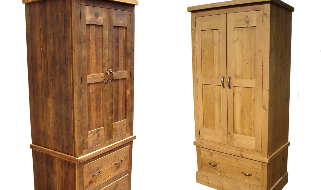 Rustic reclaimed wood wardrobe custom made for Reclaimed wood furniture colorado
